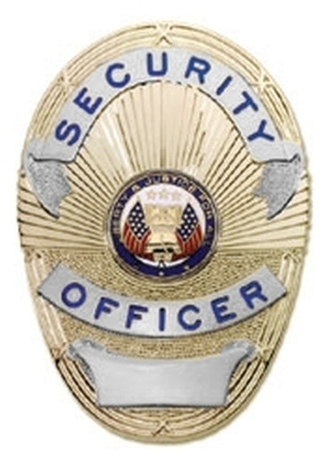 """SECURITY OFFICER Badge, LAPD Style, Durable 5-Pc Pin/Catch, 2-1/4x3-3/4"""""""