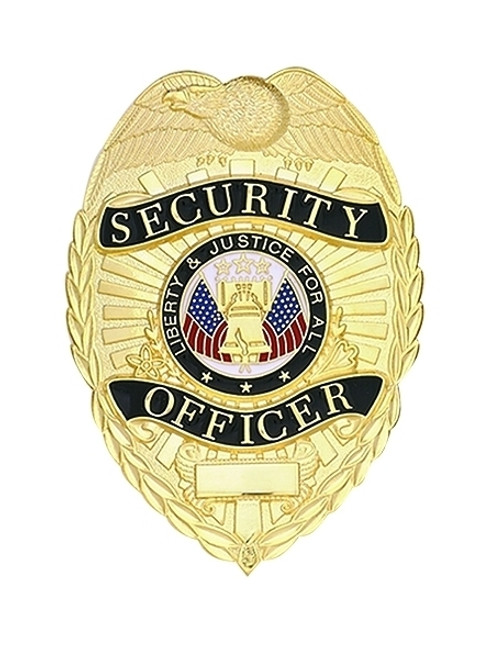 """SECURITY OFFICER Badge, Enameled & Plated 5-Pc Pin/Catch, 2-1/4x3-1/8"""""""