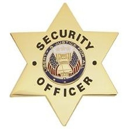 """SECURITY OFFICER Badge, Enameled & Plated Durable 5-Pc Pin/Catch, 2-3/8x2-3/4"""""""