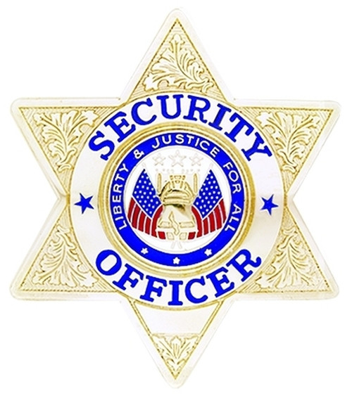 """SECURITY OFFICER Badge, Enameled & Plated Durable 5-Pc Pin/Catch, 2-3/4x3"""""""
