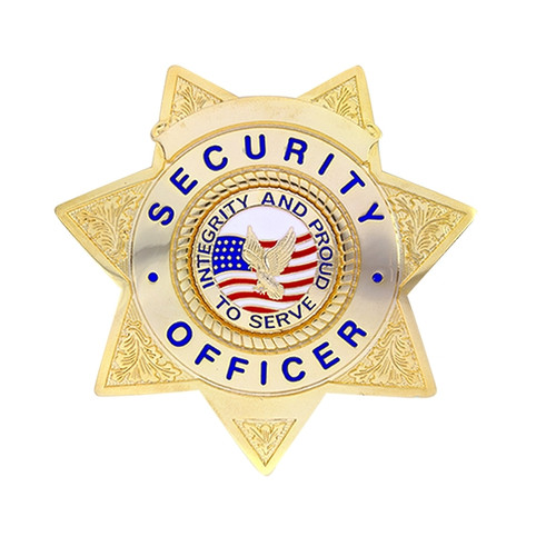 """SECURITY OFFICER Badge w/ Integrity, Enameled & Plated Durable 5-Pc Pin/Catch, 3x3"""""""
