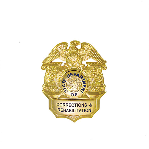 "CA DOC CORRECTIONS & REHABILITAION - Gold - Cap badge, Gold Plating, 2x2-1/2"""