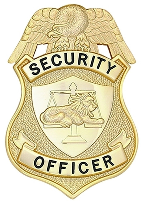 """SECURITY OFFICER (NY) Badge, Enameled & Plated Durable 5-Pc Pin/Catch, 2-1/8x3-1/8"""""""