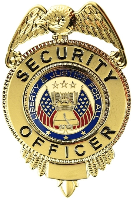 """SECURITY OFFICER Badge, Enameled & Plated Durable 5-Pc Pin/Catch, 1-5/8x2-1/2"""""""
