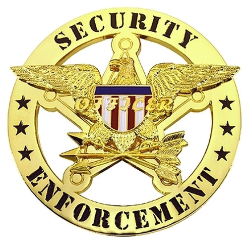 """SECURITY ENFORCEMENT Badge, Enameled & Plated Durable 5-Pc Pin/Catch, 2-1/4"""" Circle"""