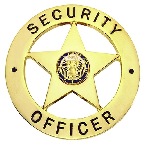 """SECURITY OFFICER Badge, Enameled & Plated Durable 5-Pc Pin/Catch, 2-1/8"""" Circle"""