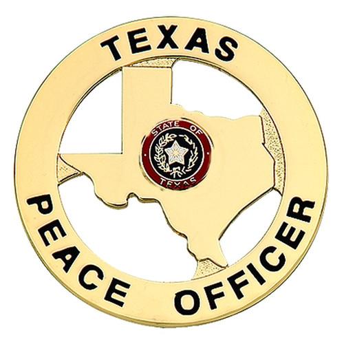 "TEXAS PEACE OFFICER Badge, 2-1/8"" Circle"