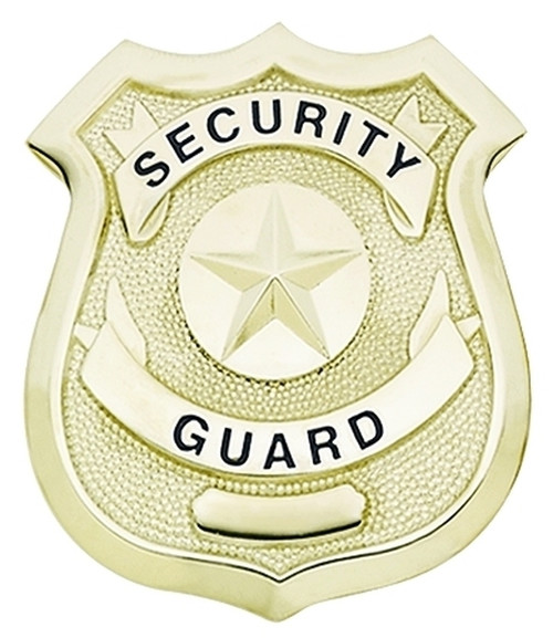 """SECURITY GUARD Badge, Enameled & Plated Durable 5-Pc Pin/Catch, 2-1/4x2-5/8"""""""