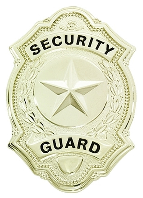 """SECURITY GUARD Badge, Enameled & Plated, Durable 5-Pc Pin/Catch, 1-5/8x2-1/2"""""""