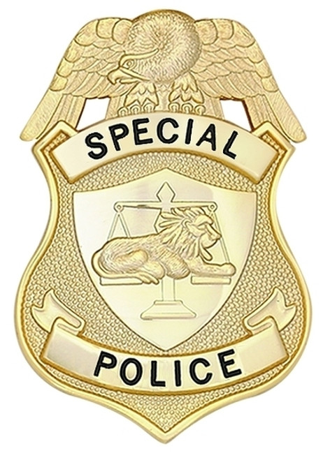 """SPECIAL POLICE Badge, Enameled & Plated, Durable 5-Pc Pin/Catch, 2-1/8x3-1/8"""""""