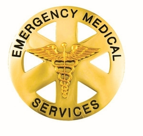 """EMERGENCY MEDICAL SERVICES Badge, Durable 5-Pc Pin/Catch, 2-1/2"""" Circle"""