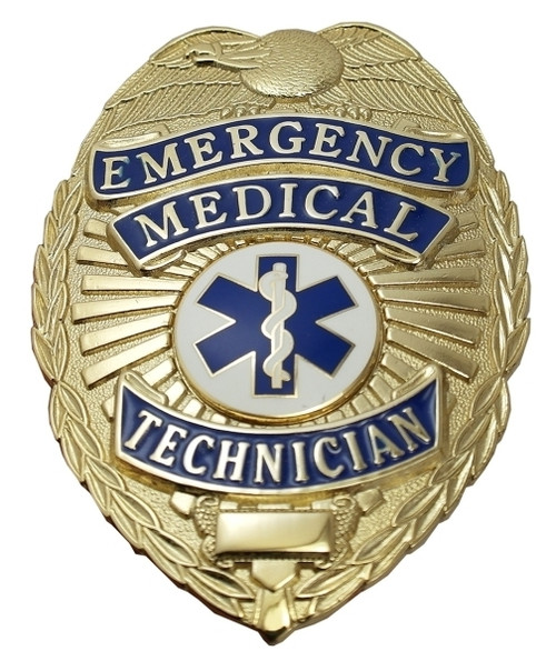 """EMERGENCY MEDICAL TECHNICIAN Badge, Durable 5-Pc Pin/Catch, 2-1/8x3"""""""