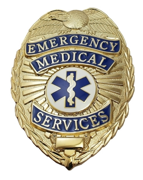 """EMERGENCY MEDICAL SERVICES Badge, Durable 5-Pc Pin/Catch, 2-1/8x3"""""""