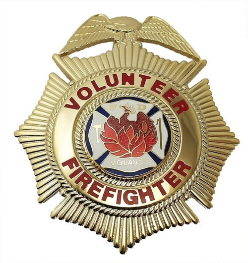 """VOLUNTEER FIREFIGHTER Badge, Enameled & Plated, Durable 5-Pc Pin/Catch, 2-1/2x3"""""""