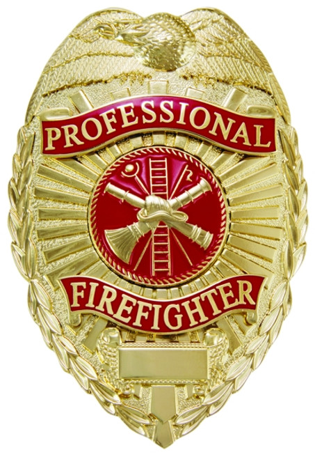 """PROFESSIONAL FIREFIGHTER Badge, Durable 5-Pc Pin/Catch, 2-1/4x3-1/8"""""""