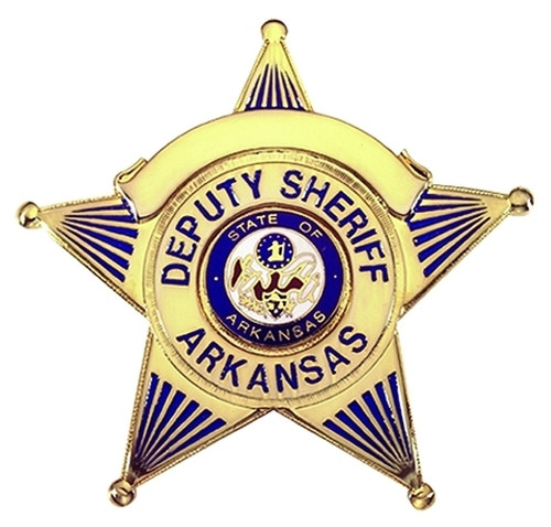 "DEPUTY SHERIFF ARKANSAS Badge, Durable 5-Pc Pin/Catch, 2-5/8x2-1/2"""