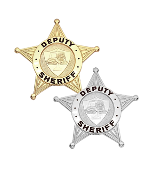 """DEPUTY SHERIFF Badge, Enameled & Plated, Durable 5-Pc Pin/Catch, 2-1/2x2-1/2"""""""