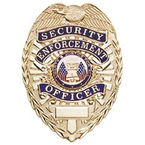 """SECURITY ENFORCEMENT OFFICER, Lightweight Badge, Pin & Safety Catch, 2-1/4x3-1/8"""""""