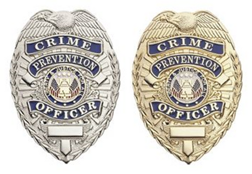 """CRIME PREVENTION OFFICER, Lightweight Badge, Pin & Safety Catch, 2-1/4x3-1/8"""""""