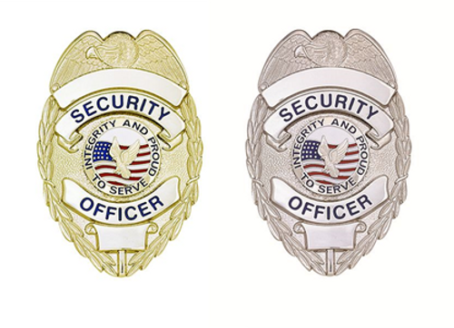 """SECURITY OFFICER Lightweight Badge w/ Integrity, Enameled & Plated, Pin & Safety Catch, 2-1/4x3-1/8"""""""