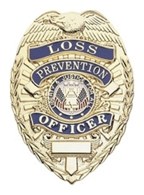 """LOSS PREVENTION OFFICER Lightweight Badge, Pin & Safety Catch, 2-1/4x3-1/8"""""""