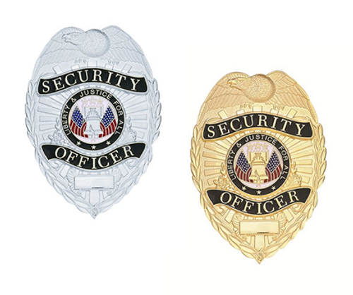 """SECURITY OFFICER Lightweight Badge, Enameled & Plated, Pin & Safety Catch, 2-1/4x3-1/8"""""""