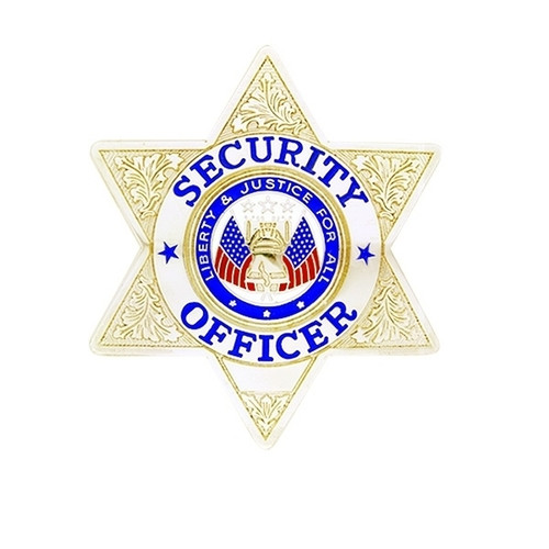 """SECURITY OFFICER Lightweight Badge, Enameled & Plated, Pin & Safety Catch, 2-3/4x3"""""""
