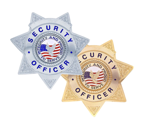 """SECURITY OFFICER Lightweight Badge, Enameled & Plated, Pin & Safety Catch, 3x3"""""""