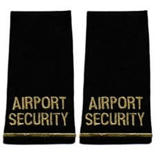 """AIRPORT SECURITY, Pair, Metal.Gold/DkNvy, 2-1/4x4-1/8"""""""