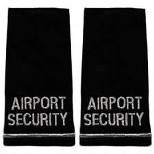 "AIRPORT SECURITY, Pair, Metal.Sliver/Blk, 2-1/4x4-1/8"""