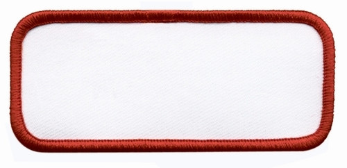 "Name Blanks, Merrowed Bordered, Red/White, 3.5x1.5"""