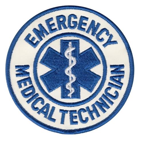"EMERGENCY MEDICAL SERVICES Shoulder Patch, Reflective, Reflective, 3-1/2"" Circle"