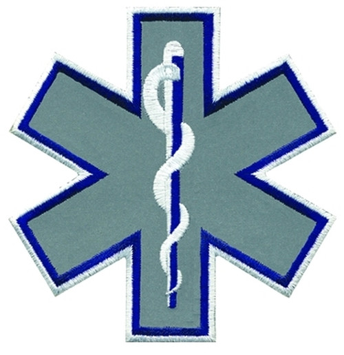 """Star of Life Shoulder Patch, Reflective, Navy/White, Reflective, 4x4"""""""