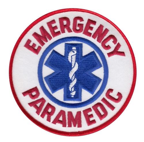 "EMERGENCY PARAMEDIC Shoulder Patch, Red/Royal, 4"" Circle"