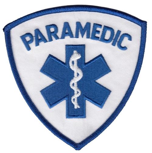 "PARAMEDIC Shoulder Patch, Blue, 3-9/16x3-9/16"""