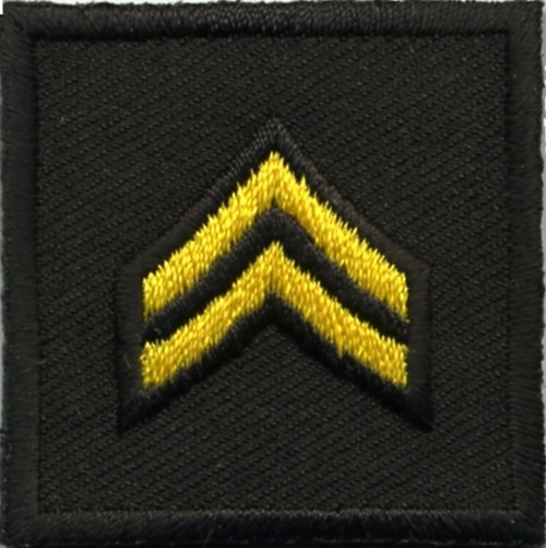 """CPL, Embroidered Rank, Pair, Med.Gold/Black, 1-1/2x1-1/2"""""""