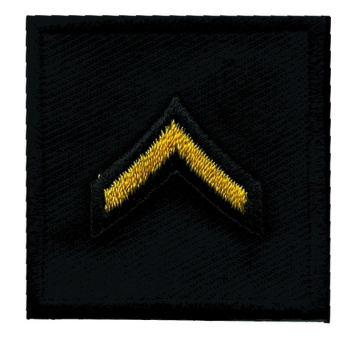 """PFC, Embroidered Rank, Pair, Med.Gold/Black, 1-1/2x1-1/2"""""""