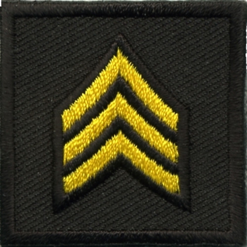 """SGT, Embroidered Rank, Pair, Med.Gold/Black, 1-1/2x1-1/2"""""""