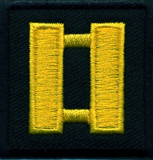 """Captain, Embroidered Rank, Pair, Med.Gold/Black, 1-1/2x1-1/2"""""""