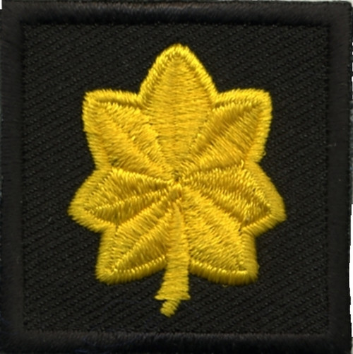 """Major, Embroidered Rank, Pair, Med.Gold/Black, 1-1/2x1-1/2"""""""
