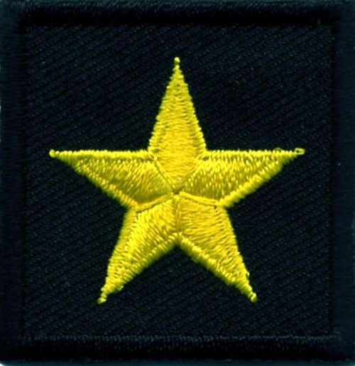 """General (1 Star), Embroidered Rank, Pair, Med.Gold/Black, 1-1/2x1-1/2"""""""