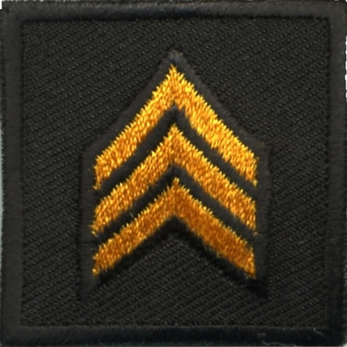 """SGT, Embroidered Rank, Pair, Dark Gold/Black, Outline, 1-1/2x1-1/2"""""""