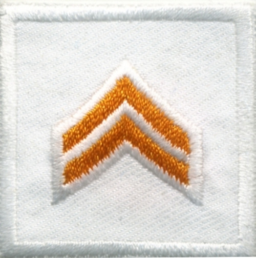 """CPL, Embroidered Rank, Pair, Dark Gold/White, Solid, 1-1/2x1-1/2"""""""