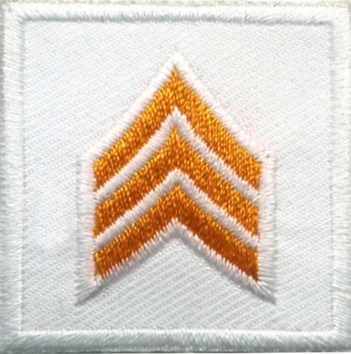 """SGT, Embroidered Rank, Pair, Dark Gold/White, Outline, 1-1/2x1-1/2"""""""