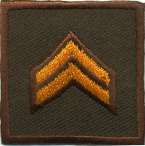 """CPL, Embroidered Rank, Pair, Dark Gold/Brown, Solid, 1-1/2x1-1/2"""""""