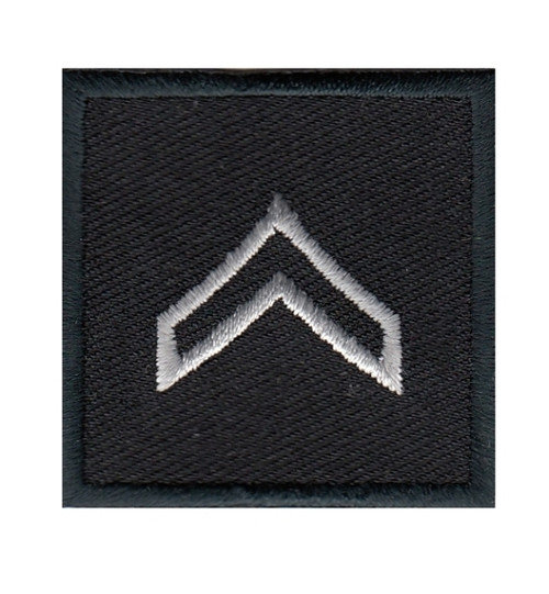 """CPL, Embroidered Rank, Pair, Silver/Black, 1-1/2x1-1/2"""""""