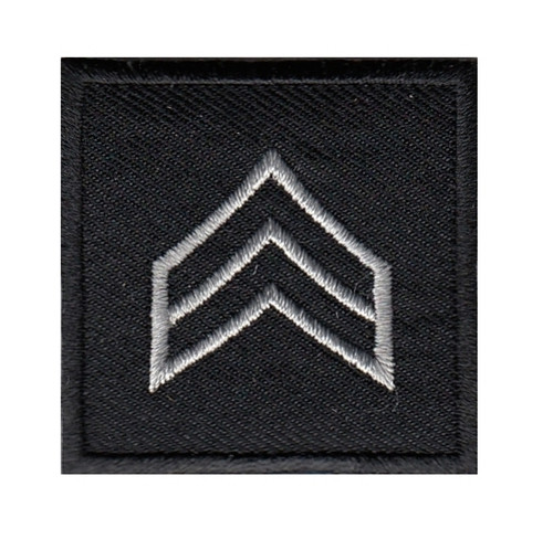 """SGT, Embroidered Rank, Pair, Silver/Black, 1-1/2x1-1/2"""""""