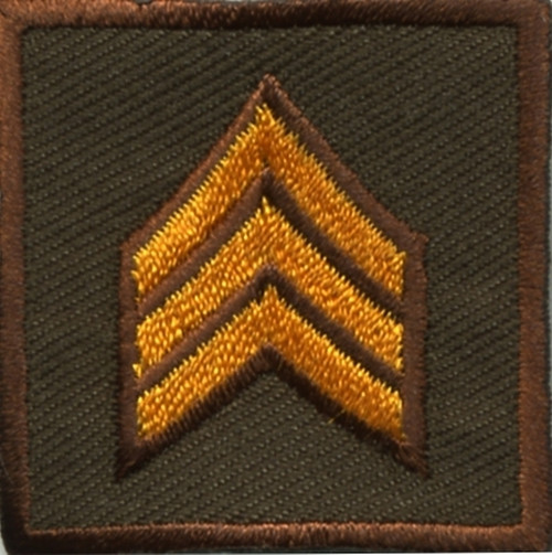 """SGT, Embroidered Rank, Pair, Dark Gold/Brown, Outline, 1-1/2x1-1/2"""""""