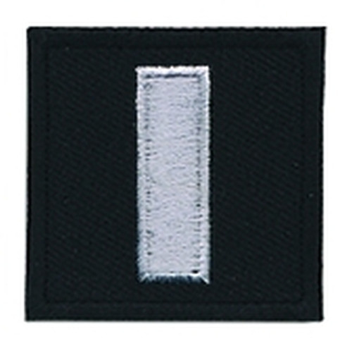 """LT, Embroidered Rank, Pair, Silver/Black, 1-1/2x1-1/2"""""""