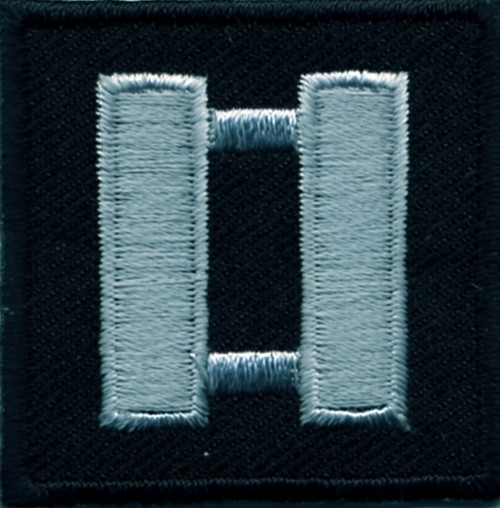 """Captain, Embroidered Rank, Pair, Silver/Black, 1-1/2x1-1/2"""""""